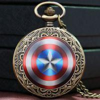 Wholesale Captain America Shield Weapon The First Avenger Steve Rogers Pocket Watch Men Boys Gift Child P1435