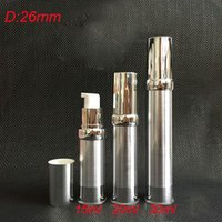 Wholesale 30ml silver airless bottle with silver pump and bottom siver lid ml lotion bottle Cosmetic Container Refillable Bottles