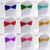 Wholesale 100pcs Colorful Spandex free tie Back Bow Chair straps with heart buckle spandex band with ring
