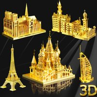 Wholesale 3D three dimensional jigsaw puzzle simulation architecture model metal ornaments holiday gift gifts to send her boyfriend a birthday present