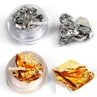 achat en gros de ongles glitter pots-12 Pots Glitter Or Argent Paillette Flake Chip Foil Nail Art Tips Décoration murale art déco décoration