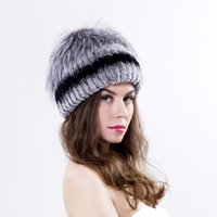 Wholesale Winter women rex rabbit fur and silver fox hat lady fur hat winter fur hat new fashion good quality women winter hat