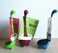 Wholesale Nessie Ladle Vertical Long Handle Plastic Spoon Dinosaurios Loch Ness Monster Nessie Spoons Cucharas Largas Louche De Cuisine hot sale