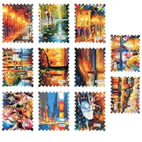 beauty scenes - Oil Painting Stamp Design Water Nail Sticker Style Beauty Night Scene Pattern Water Transfer Nail Stickers Nude Packing