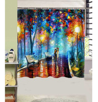 Wholesale Van Gogh Santa Lighs Night Design Shower Curtain Size x cm Custom Waterproof Polyester Fabric Bath Shower Curtains