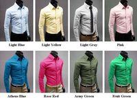 Wholesale Men s Dress Shirts long Sleeve Shirts Mens dress shirts Fashion Mens Luxury Stylish Casual Dress Slim Fit T Shirts M XL