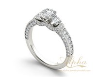 antique rings online - top celebrity Antique design three stone diamond cluster engagement ring with wedding band online BER0597