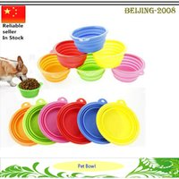 Wholesale Lovely Foldable Pet Silicone Feeding Dish Water Feeders Portable Dog Cat Travel Food feeding Bowls free DHL