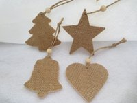 bell stars - Fancy Christmas Hanging Ornaments Wooden Christmas Tree Star Heart And Bell With Burlap