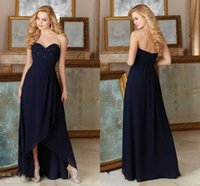beaded bustiers - Dark Navy Bridesmaid Dresses Sexy High Low Chiffon Beaded Lace Bustier Sweetheart Simple Beach Wedding Party Gowns Ladies Formal