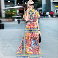 baroque print dress - maxi Dress Women s High Quality Summer Short Sleeve Bow Collar Tribal Baroque Printed Holiday Dresses