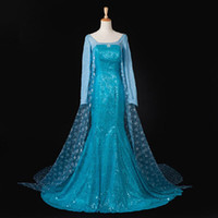 Wholesale New Sexy Elegant Dress Elsa Queen Tail Princess Adult Women Evening Party Dress Cosplay Costume Elsa Gown for Women Fantasia Halloween