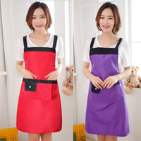 Wholesale DHL Fast Shipping Women Apron Korean Waiter Aprons With Pockets Restaurant Kitchen Cooking Shop Art Work Apron