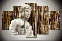 Wholesale Framed Art Buddha Painting modern abstract wall canvas art room decor print painting set F