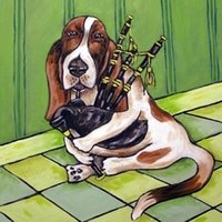 basset hound dogs - basset hound playing the bagpipes dog art tile coaster Hand Painted Folk Pop Art Oil Painting On Canvas any customized size accepted sch