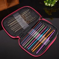 Wholesale Hand Sewing Aluminum Crochet Hooks Stainless Steel Hooks Knitting Needles Sewing Crafts With Red Bag Set