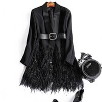 america suit jacket - Europe and America Women s clothes Autumn New Feather stitching two button suit jacket