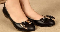 belle pump - Special offer BELLE Shima bow Slope Shallow mouth with leather shoes with shoe head shoes a middle aged