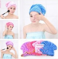 Wholesale 4 Colors Lovely Bowknot Coral Vevet Strong Water Absorption Hair Dry Shower Bath Caps Hats