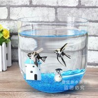 Wholesale glass cylinder aquarium goldfish bowl creative office desktop fish tank hydroponic vases