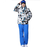 Wholesale New arrival male ski suits snowboard suit jacket pants set men waterproof breathable thermal cotton padded winter snow coat