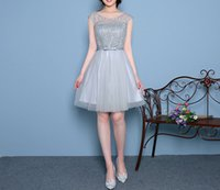 Wholesale 2016 Grey Short Eveing Dresses Wedding Dresses Bridesmaid Party Dresses For Girls Women In Stock