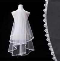beautiful cheap weddings - White Tulle Weddings Veils Meters Long With Flowers At Border Wedding Vailes Ivory Veil Wedding Beautiful Bridal Veil Cheap
