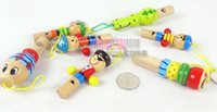 Wholesale Kids Toys Baby Toys Cartoon Partern Wooden Cartoon Whistle Key Pendant Whistling random shipment