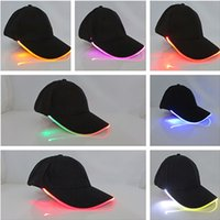 Wholesale New Led Luminous Party Baseball Hats Women Men Hockey Snapback Basketball Ball Caps Unisex Fiber Optic Hat Visor Tourism WX H38