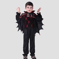 bat wings costumes - Retail Kids Vampire Costume Children Bat Wings Halloween Costume Fancy Carnival Clothing Boys Vampire Cosplay Festivals Outfit SW0269