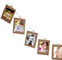 Wholesale 10 Set Paper Photo DIY Wall Picture Hanging Frame Album Rope Clip Set Home Decor