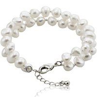 agate cultured pearls - Natural White Freshwater Pearl Bracelet with sterling silver Clasp Cultured Pearl Beads With In