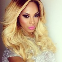 Cheap New Arrival Virgin Hair Lace Front Wig #1B 613 Ombre Hair Wig Body Wave 2 Tone Full Lace Wig With Baby Hair