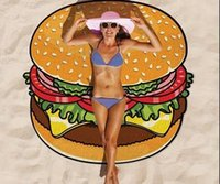 beach picnics - 2016 European Style Women Ladies Sexy Cute New Summer Swim Beach Towel Cape Shawl Camping Hamburg Donuts Pizza Print Picnic Mats