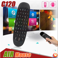 Cheap C120 Mini Portable Wireless Air Mouse Keyboard 3 Axis Sensor Remote Control 2.4G Somatic Gyroscope Game Handgrip for Android TV BOX