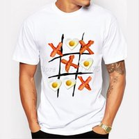 bacon t - Men s Funny Bacon Tic Tac Toe Printed Fashion T shirt Hipster Tops customize Printed Short Sleeve Tees