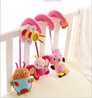 bee movie toys - 25cm New Hot Sell Pink bee Cot Hanging Rattle Baby soft toys with music owl butterfly ladybug for baby s gift