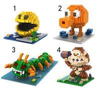 Wholesale 48pcs Plastic LOZ Micro blocks DIY Bricks Pixels Brinquedos Pac man Action mini Figure Movie Character Anime Juguetes Kids Gifts