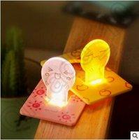 Wholesale Novelty Items Emergency ABS Small Thin Portable LED Card Light Bulb Lamp Pocket Wallet Cartoon Fold Up Pocket Bulb Lamp CCA4551