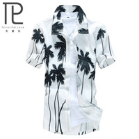 Wholesale Hot style Brand Summer Hawaiian Men s Hawaii Beach Shirt chemise homme Coconut Palm prints Loose Casual Shirts Asian Size L XL