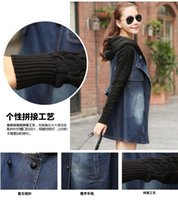 Wholesale Fashion Women Lady Denim Trench Coat Hoodie Hooded Outerwear Jean Jacket Cool Han edition TXSW