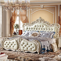 Wholesale factory price king size leather modern european solid wood bed Fashion Carved m bed french bedroom furniture
