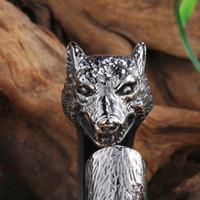 bar wolf - Fashion Punk Design Silver L Stainless Steel biker Wolf Head Open Cuff Bangle Gothic Men High Quality Fine Jewelry Gift