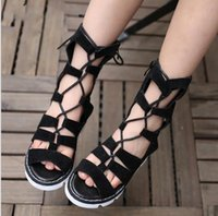 Wholesale 2016 New Children girls Gladiator Sandals Kids Girl Summer Nubuck leather lace up cutout sandal Shoes High Led Boots Sandals Size