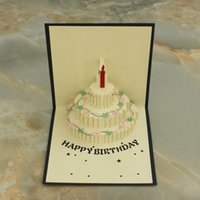 Wholesale 3 Items per D POP UP Handmade Birthday Gift Greeting Card with Cake Flower Candle Decoration
