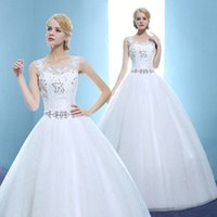 Wholesale Simple White Scoop Beads Sash Ball Gown Wedding Dresses Bridal Dresses wedding attire dress Custom Size W825001