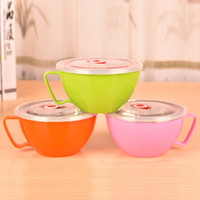 Wholesale Japan Style Noodles Bowl With Handle Lid Enclosed Large Stainless Steel Cutlery Rice Soup Cup cm Cooking Tools ML