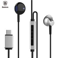 bass c - Original Baseus B51 USB Type C In Ear Earphone With Microphone Heavy Bass Stereo Type c Headset For Huawei P9 Xiaomi Letv Earbuds