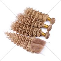 27 Pelo malasio de la Virgen rizado 3 paquetes con el cordón del cierre del cordón Blonde Blindaje Wet y la armadura ondulada con el encierro