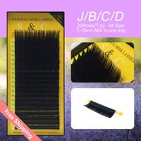 Wholesale 6 cases set mm MIX rows tray mink eyelash extension natural eyelashes individual eyelashes false eyelash